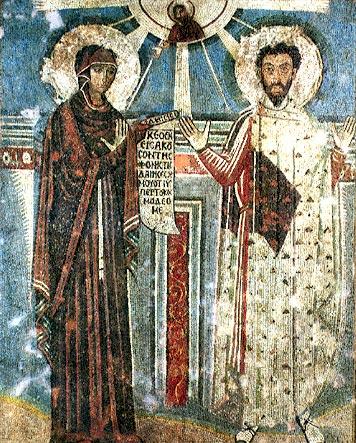 María con palio episcopal